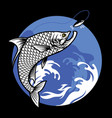 shirt design fishing tarpon fish vector image vector image