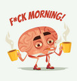 sleepy tired office worker brain character drink vector image