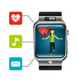 smart watch woman jumping heart rate application vector image