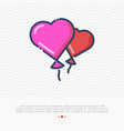 two balloons in heart shape thin line icon vector image