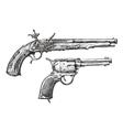 Vintage Gun Retro Pistol Musket Hand-drawn vector image vector image