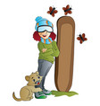 woman snowboarder vector image