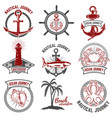 set of nautical emblems isolated on white vector image