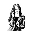 girl with long hair in bw vector image