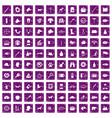100 dog icons set grunge purple vector image vector image