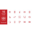 15 telephone icons vector image vector image
