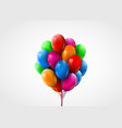 3d realistic colorful bunch flying birthday vector image vector image