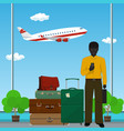 african american man at the airport vector image vector image