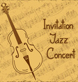 Background of contrabass and music stave vector image vector image