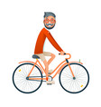 bicycle ride geek hipster travel lifestyle concept vector image vector image