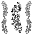 black floral ornament pattern vector image vector image