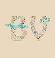 bon voyage floral letters with blue ribbons vector image