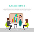 business meeting banner with woman near graphic vector image