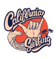 california surfing emblem template with sea waves vector image
