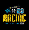 car racing emblem with shabby texture vector image vector image