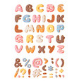 cartoon donut hand drawn font vector image vector image