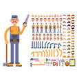 cartoon man construction worker in jumpsuit vector image
