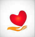 charity donation heart and hand symbol vector image vector image