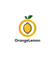 circle lemonade logo designs with leaves symbol vector image