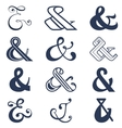 Collection of twelve ampersands sign designs vector image vector image