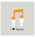 Creative music note sign and silhouette people vector image vector image