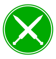 Crossed gladius swords button vector image vector image