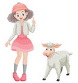 cute girl and little lamb vector image