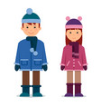 cute twins kids boy and girl in winter clothes vector image