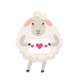 cute white sheep character holding paper with vector image vector image
