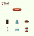 flat icon meal set of canned chicken kielbasa vector image vector image