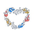 floral leaf wreath in shape heart for vector image vector image