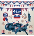 fourth july card with different signs and vector image