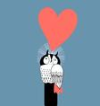 funny graphics in love owl on a blue backgroun vector image