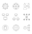 Global internet icons set outline style vector image