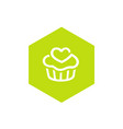 green cupcake icon combined with hexagon shape vector image