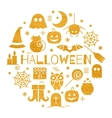 Halloween gold icons set in circle shape vector image