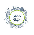hand drawn contoured sports equipment vector image vector image