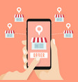 hand holding smartphone with shop on screen vector image vector image