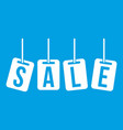 hanging sales tags icon white vector image