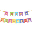 Happy birthday Text on rope isolated on white vector image vector image