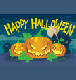 happy halloween design with three pumpkin vector image vector image