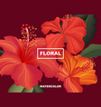 hibiscus spring flower exotic bloom hawaii vector image vector image