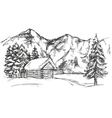 house in mountain the snow landscape hand drawn vector image vector image