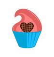 isolated colored cupcake icon vector image vector image