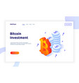isometric bitcoin investment and growth design vector image vector image