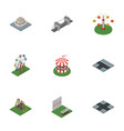 isometric city set of crossroad seesaw aiming vector image vector image