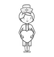line professional nurse with heart in tha hands vector image vector image