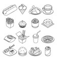 lineart isometric fast food icons set design vector image vector image