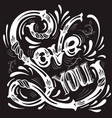love you typographical background with unique vector image