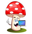 mushroom with laptop on white background vector image